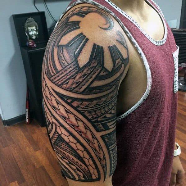 a1cb0a8decc55 50 Filipino Sun Tattoo Designs For Men - Tribal Ink Ideas