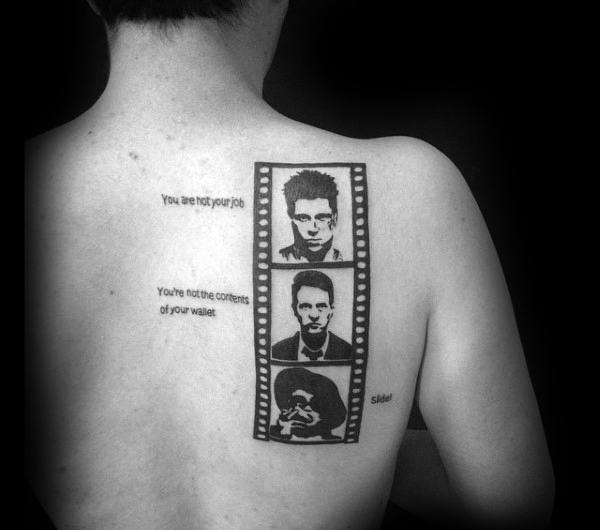 Film Strip Fight Club Mens Back Tattoos