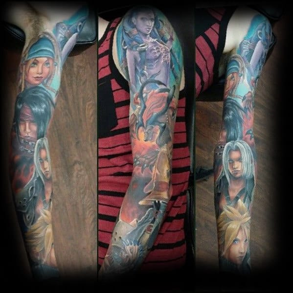 final fantasy guys full sleeve themed tattoo inspiration