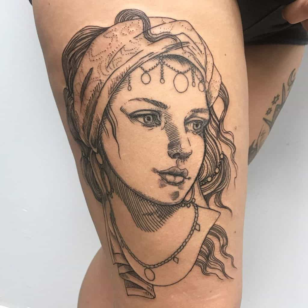 Fine Line Gypsy Tattoo