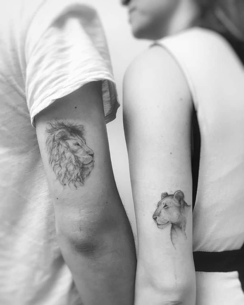 Fine Line Ink Lion Tattoo