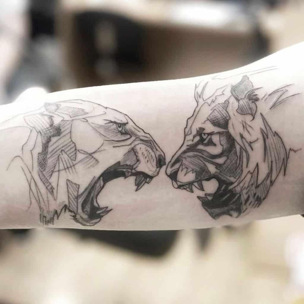 Fine Line Lioness Tattoo