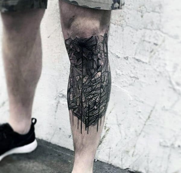 Fine Line Tattoo Designs For Men On Leg Half Sleeve