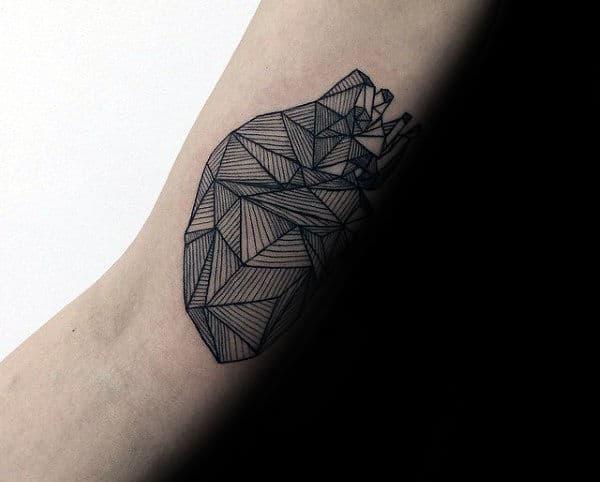 Fine Lines Geometric Heart Mens Arm Tattoo Ideas