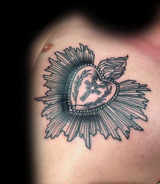 Fine Lines Mens Black Ink Sacred Heart Upper Chest Tattoos