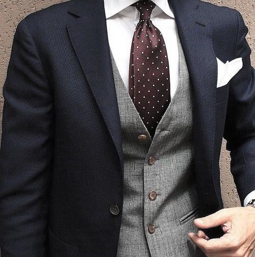 Fine Male Fashion Navy Blue Suit Style Ideas Red Dot Tie