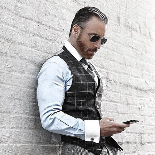 Fine Male Fashion Trendy Outfits Style Ideas Plaid Vest With Light Blue Dress Shirt