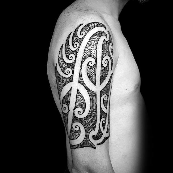 Finely Detailed Guys Half Sleeve Tribal Tattoo Ideas