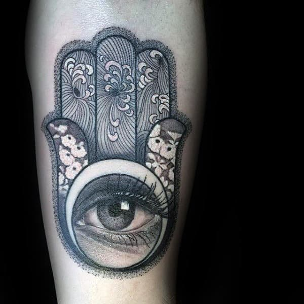 Finely Detailed Hamsa With Eye And Flower Mens Inner Forearm Tatoto