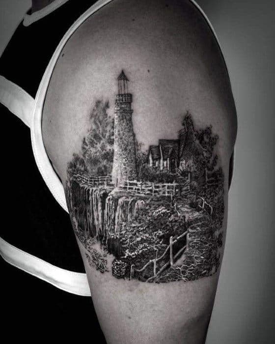 Finely Detailed Mens Awesome Lighthouse Arm Tattoos