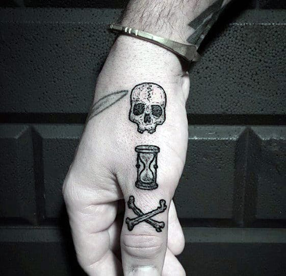 Finger And Hand Guys Traditional Hourglass With Skull And Cross Bones Tattoo
