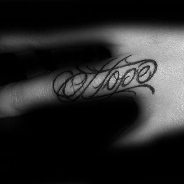 Finger Hope Mens Tattoo Designs