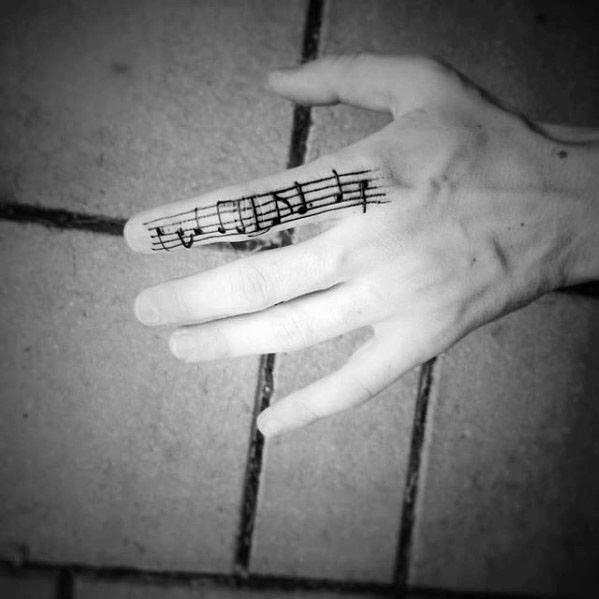 Finger Music Staff Guys Tattoo Ideas