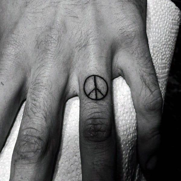 Finger Peace Sign Male Tattoo Ideas