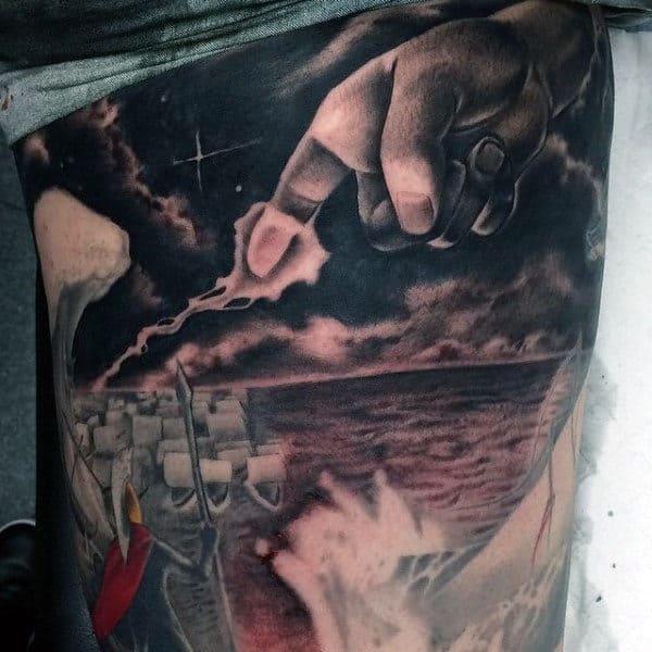 Finger Striking Lightning Mens Greek God Zeus Tattoo
