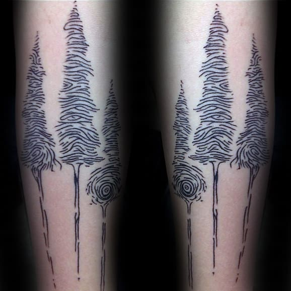 Fingerprint Tree Mens Arm Tattoos