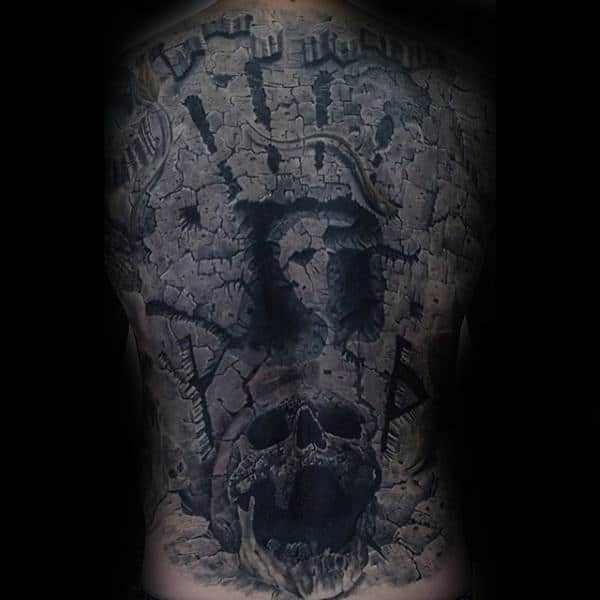 Fingerprint With Skull Stone Back Tattoos For Men