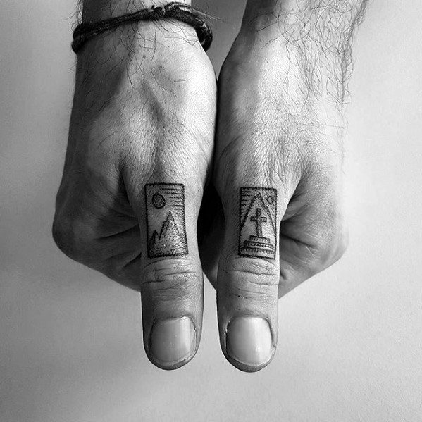 Fingers Mens Tattoo Ideas With Quarter Sized Design