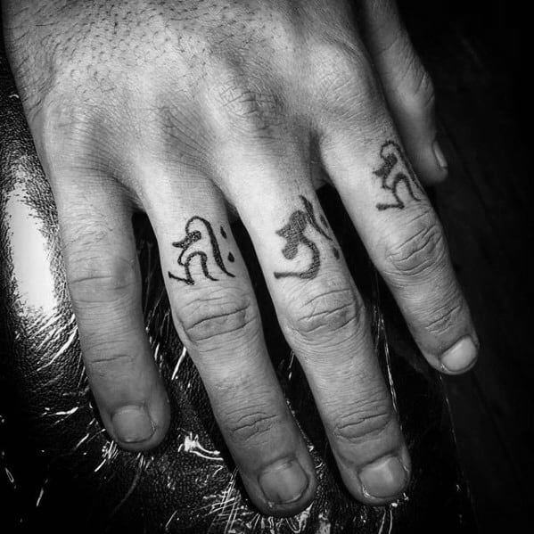 Fingers Sanskrit Guys Tattoo Ideas