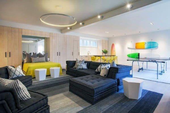 Finished Basement Lighting Ideas Cool Lounge
