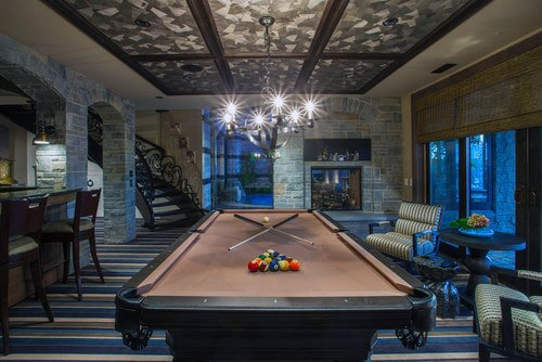 Finished Basement With Pool Table Custom