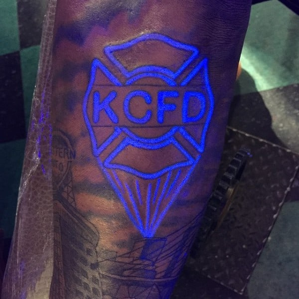Fire Department Signal Tattoo On Man With Glow In The Dark Ink Style