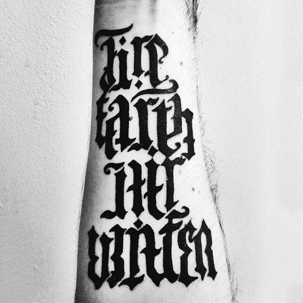 Fire Earther Water Air Ambigram Mens Tattoos On Wrist