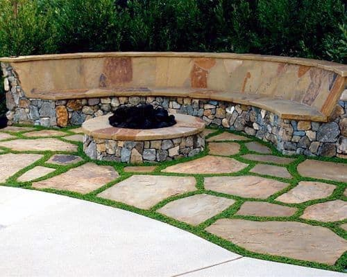 Fire Pit Backyard Ideas For Flagstone Patio With Stone Seating