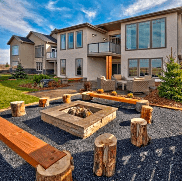 Fire Pit Backyard Ideas For Gravel Patio With Tree Stump Seats