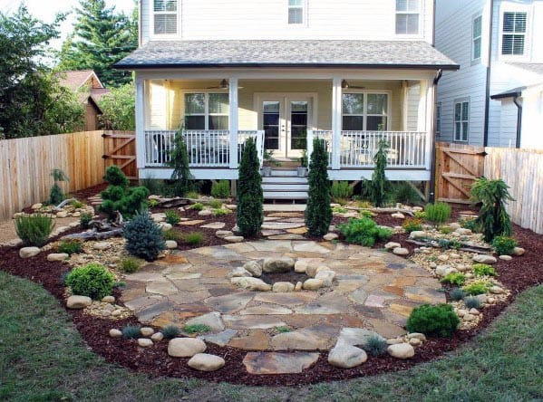 Fire Pit Circle Flagstone Patio Backyard Design
