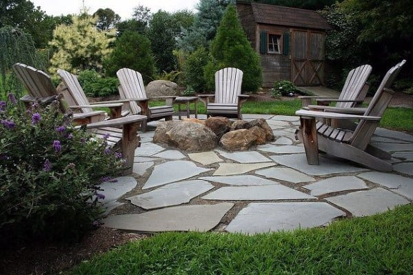 Fire Pit Flagstone Patio Cool Backyard Ideas