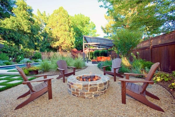 Fire Pit Gravel Patio Backyard Design