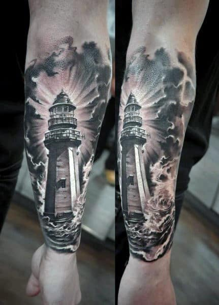 Firearm Lighthouse Cloud Tattoos For Men