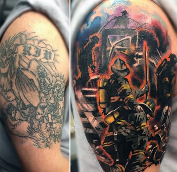 Firefighter Arm Tattoos On Man