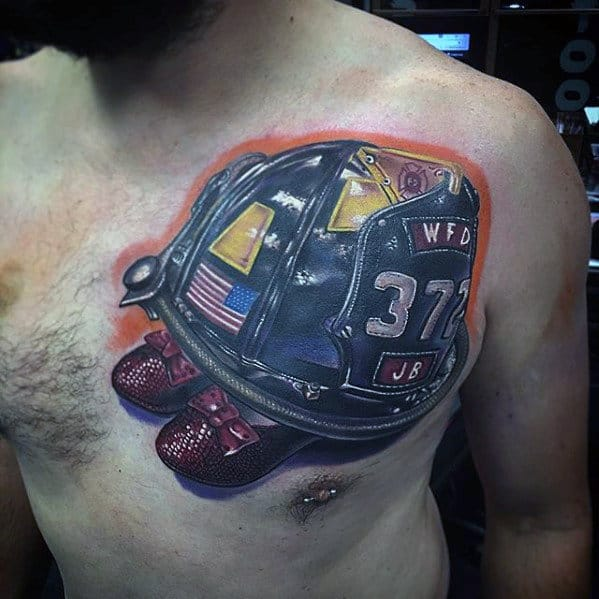 Firefighter Helmet With Red Shoes Mens Upper Chest 3d Tattoo