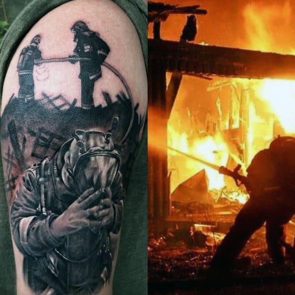 Firefighter Hose Tattoos For Men