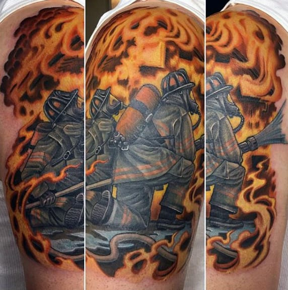 Firefighter Mens Half Sleeve Tattoo Ideas