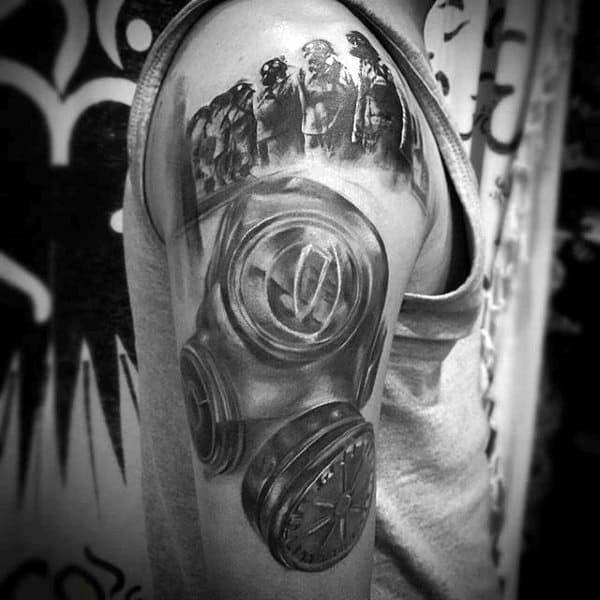 Fireman Mens Gas Mask Tattoo On Upper Arm