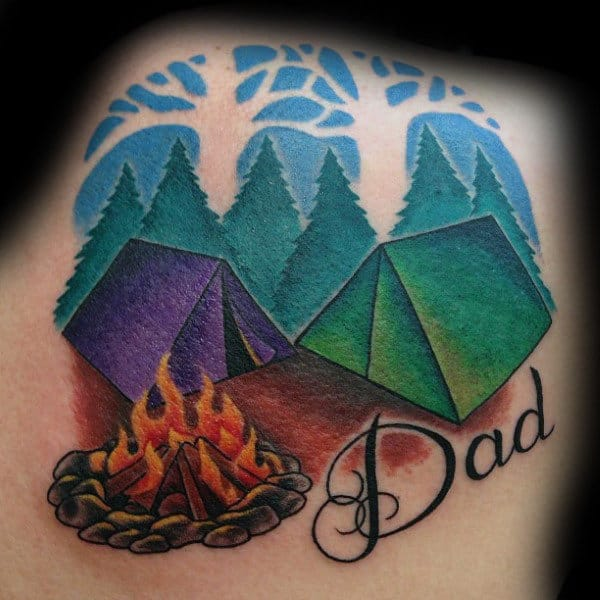 Fireplace And Colored Tents Holiday With Dad Tattoo Male Back