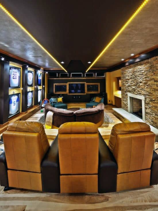 Fireplace Basement Movie Room Lounge Ideas Sports Themed