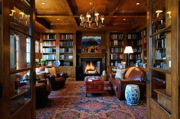 Fireplace In Home Library Traditional Wood Designs