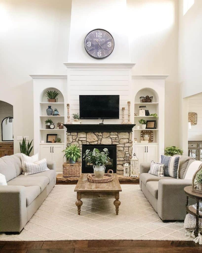 The Top 70 Modern Farmhouse Living Room Ideas Interior Home And Design
