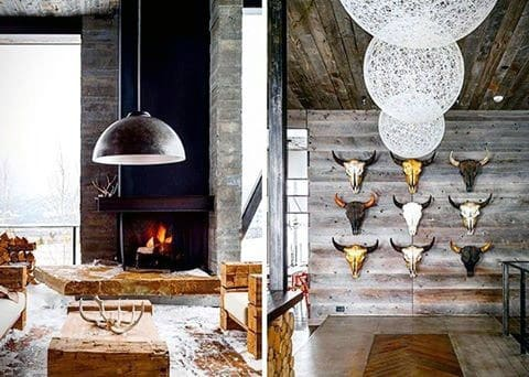 Fireplace With Animal Skull Wall Ultimate Bachelor Pad