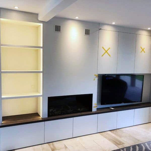 Fireplace With Bookcase And Recessed Tv Wall Design Ideas