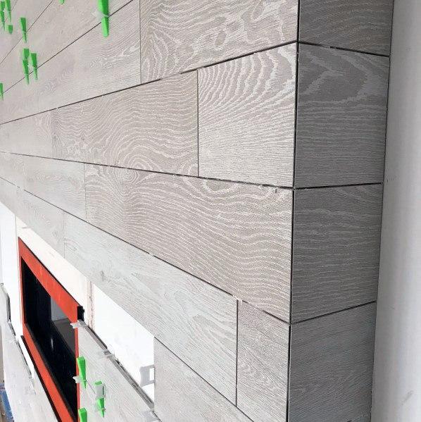 Fireplace Wood Tile Design Inspiration