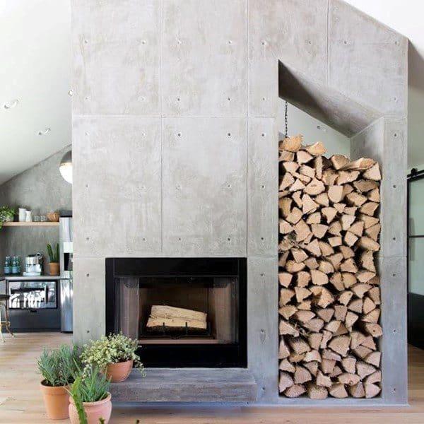 Firewood Storage Concrete Fireplace Design