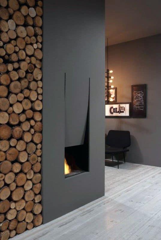 Firewood Storage Modern Fireplace Design