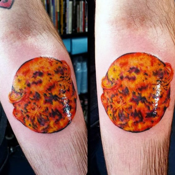 Firey Orange Glowing Mens Forearm Sun Tattoo