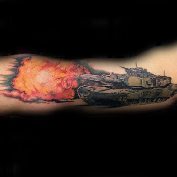 Firing Tank Explosion Tattoos For Male