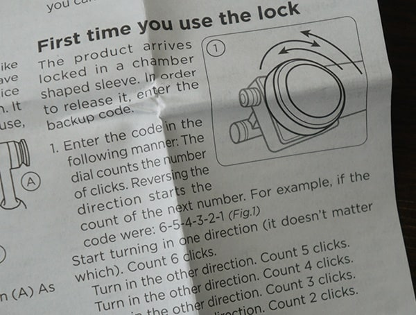 First Time You Use The Lock Zore X Core 9×19 Instruction Sheet